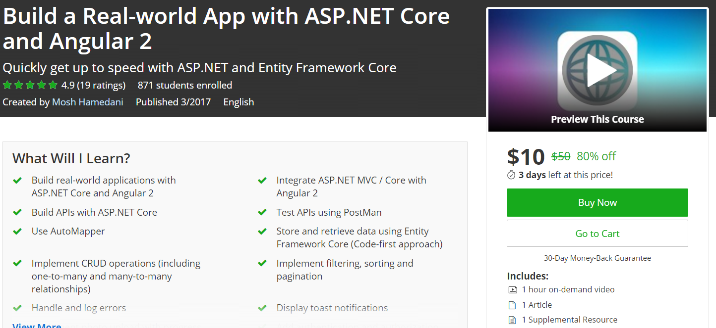 Udemy) Build a Real-world App with ASP NET Core and Angular