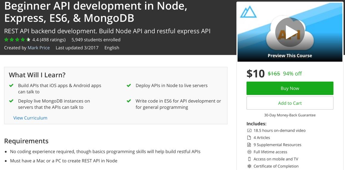 Udemy] Beginner API development in Node, Express, ES6